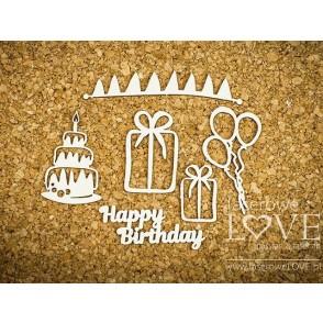 Izrezek, chipboard, Dino Land, Happy Birthday