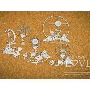 Izrezek, chipboard, Holy & White, zakramenti, simboli