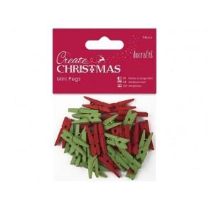 Lesene ščipalke, rdeče in zelene
