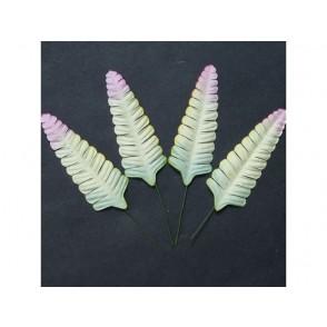Papirnato listje, praprot, zeleno/roza