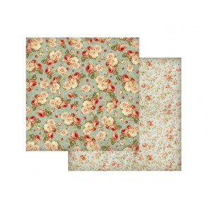 Papir, Floral Wallpaper On Turquoise Background