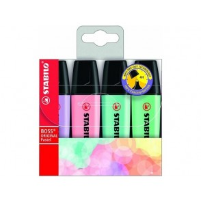 Marker Stabilo Boss, Pastel mix, set 4