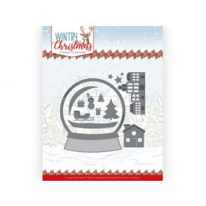 Rezalna šablona,Wintery Christmas, Snowman in snow globe