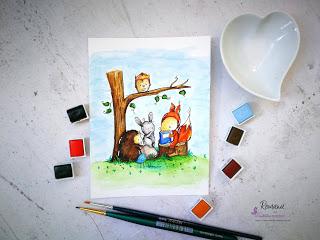 61. izziv FB Papirčkarice – akvarelno barvanje - Romana